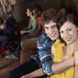 Young happy  couple in cafe — Stock Photo