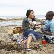 Couple having picnic on beach — Stock Photo