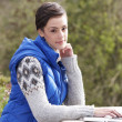 Young woman with laptop computer — Stock Photo