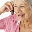 Senior woman talking on phone — Stock Photo