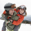 Young Father And Son On Winter Vacation — Stock Photo