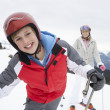 Young Mother And Son On Ski Vacation — Stock Photo