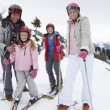 Young Family On Ski Vacation — Stok fotoğraf