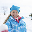 Stock Photo: 7 Year Old Girl On Winter Vacation