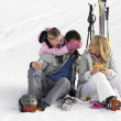 Young Family With Picnic On Ski Vacation — Stock Photo