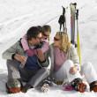 Young Family On Ski Vacation — Foto de Stock