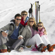 Young Family On Ski Vacation — Photo