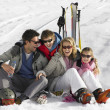 Young Family On Ski Vacation — Foto Stock