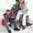 Young Family On Winter Vacation — Stok fotoğraf
