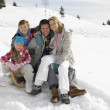 Young Family Sitting On A Sled In The Snow — Stock Photo
