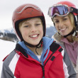Stock Photo: Young Mother And Son On Ski Vacation