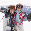 Young Father And Daughter On Ski Vacation — Stock Photo