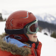Pre-teen Boy On Ski Vacation - Foto Stock