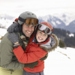 Young Father And Son On Winter Vacation - Stock Photo