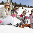 Young Family On Ski Vacation — Stock Photo #11882698