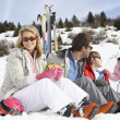 Young Family On Ski Vacation — Stock Photo #11882700