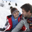 Young Father And Son In Snowy Landscape — Stock Photo #11882714
