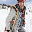 Young MCarrying Sled In Alpine Landscape — Stock Photo #11882722