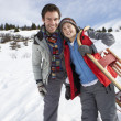Young Father And Son In Snow With Sled — Stock Photo #11882726