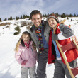 Young Father And Children In Snow With Sled — Stock Photo #11882727