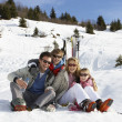 Stock Photo: Young Family On Ski Vacation