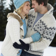 Young Couple In Alpine Snow Scene — Photo