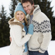 Young Couple In Alpine Snow Scene — Stock Photo