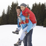 Young Woman In Alpine Snow Scene — Stock Photo