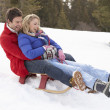 Young Couple Sledding — Stock Photo