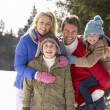 Young Family In Alpine Snow Scene — Stock Photo #11882796