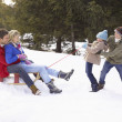 Young Girl And Boy Pulling Parents Through Snow On Sled - Stock Photo