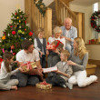 Family exchanging gifts in front of Christmas tree — 图库照片