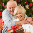 Senior couple with gifts in front of Christmas tree — Stock Photo