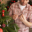 Stock Photo: Young mfixing Christmas tree lights