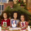 African American father making Christmas cards with children — Foto Stock