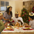 Adult African American family having Christmas dinner — Stock Photo