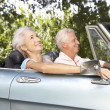 Stock Photo: Senior couple in sports car