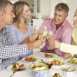 Mid age couples enjoying meal at home — Stock Photo #11883432