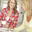 Mid age women chatting over coffee at home — Stock Photo #11883510