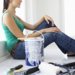 Woman decorating house — Stock Photo