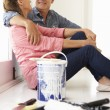 Senior couple decorating house - Stock Photo