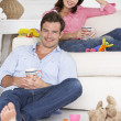 Stock Photo: Parents enjoying rest