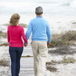 Senior couple walking by the sea — Foto de Stock