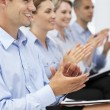 Group applauding business presentation — Stock fotografie