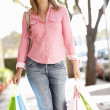Woman carrying shopping — Stock Photo