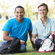 Stock Photo: Portrait young men outdoors