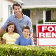 Father and children outside home for rent — Stock Photo