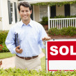 Real estate agent at work — Stock Photo