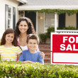 Stock Photo: Mother and children outside home for rent