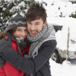 Stock Photo: Young couple in snow with car